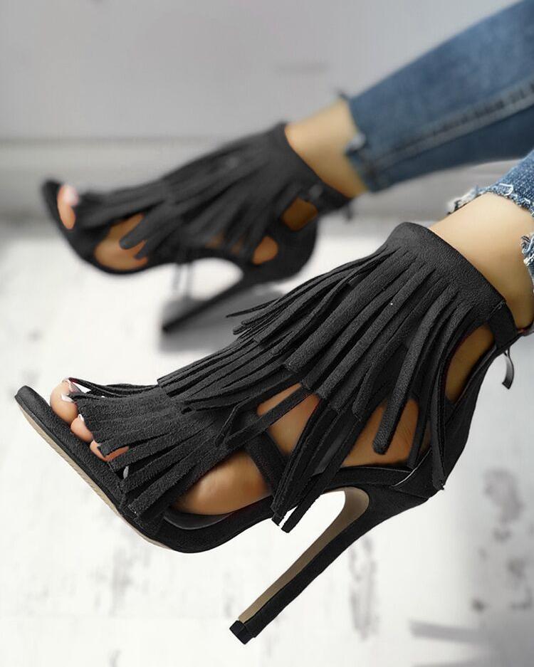 Fashion Solid Tassel High Heel Sandals thumbnail
