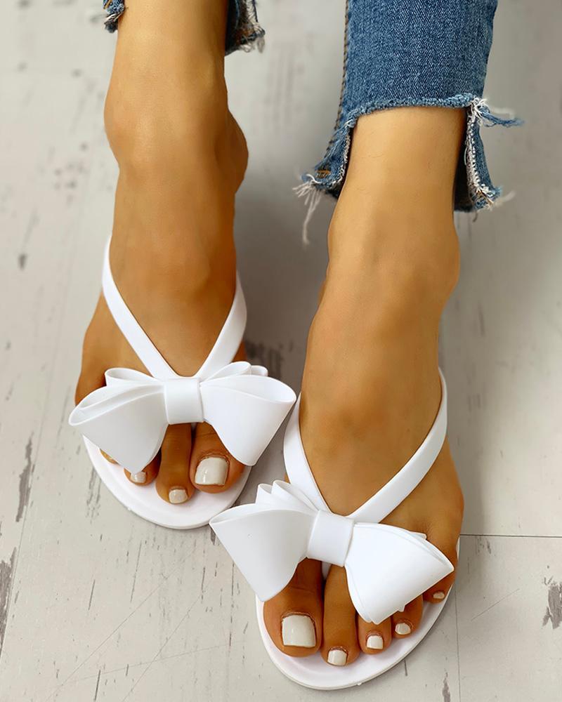 Bowknot Decor Slide Flip Flops