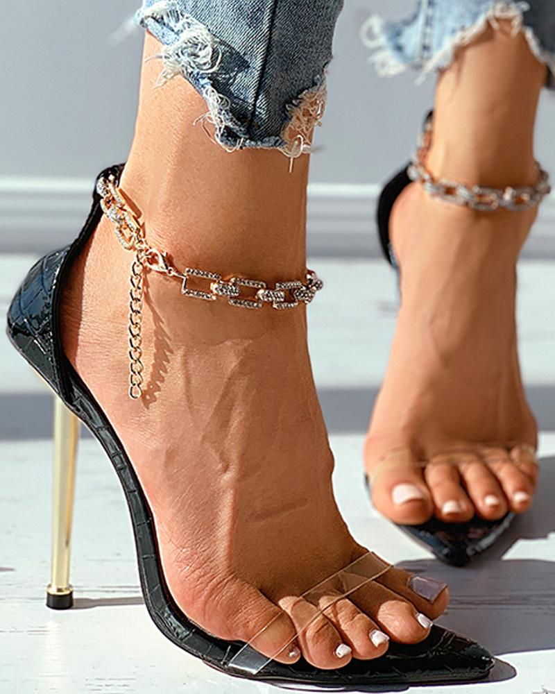 Chain Strap Embossed Clear Perspex Pointed Toe Stiletto Heel thumbnail