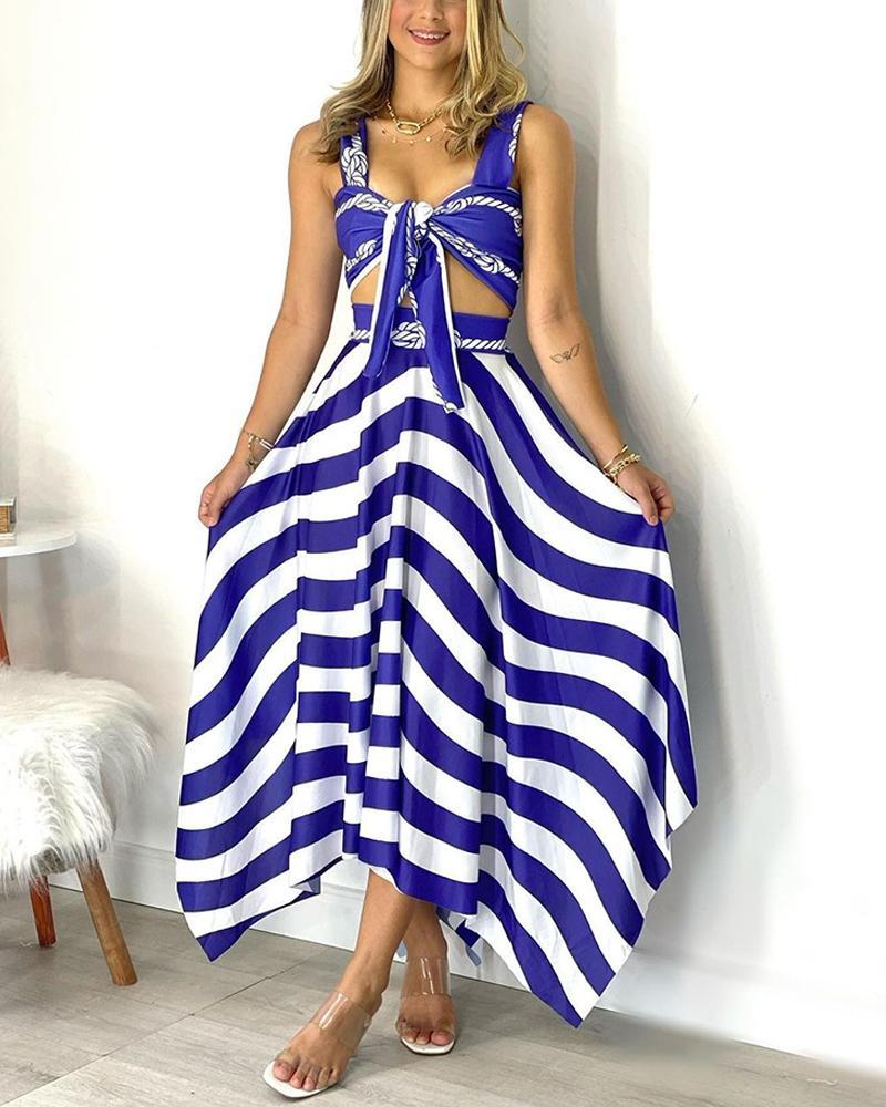Striped Tie Front Cami Top & Asymmetrical Skirt Set