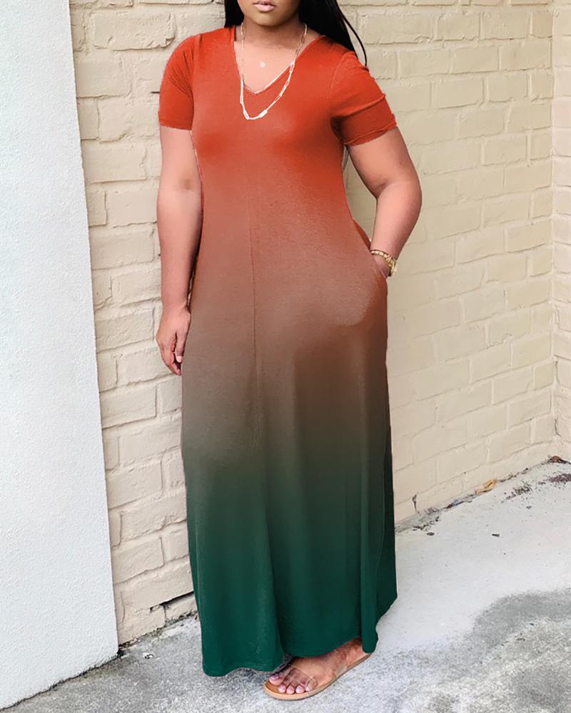Ombre Colorblock Short Sleeve Pocket Design Maxi Dress