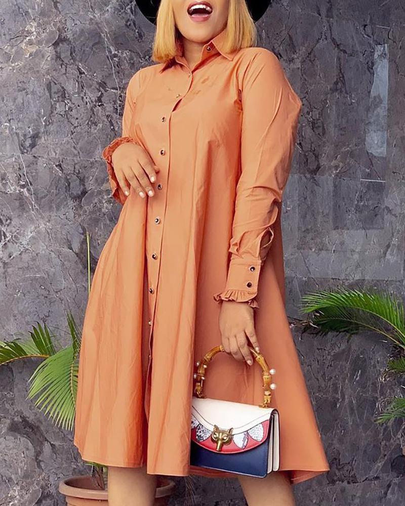 Frill Hem Button Design Shirt Dress, ivrose, brown  - buy with discount