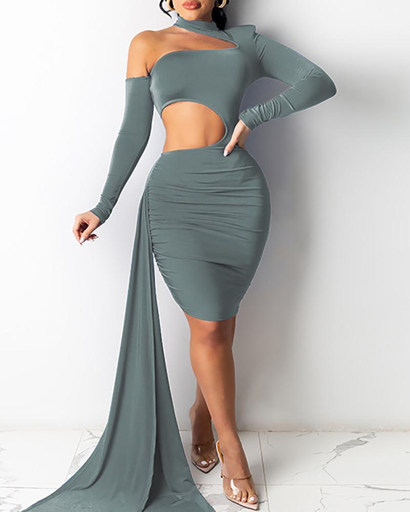 One Shoulder Ruched CutoutLong Sleeve Bodycon Dress