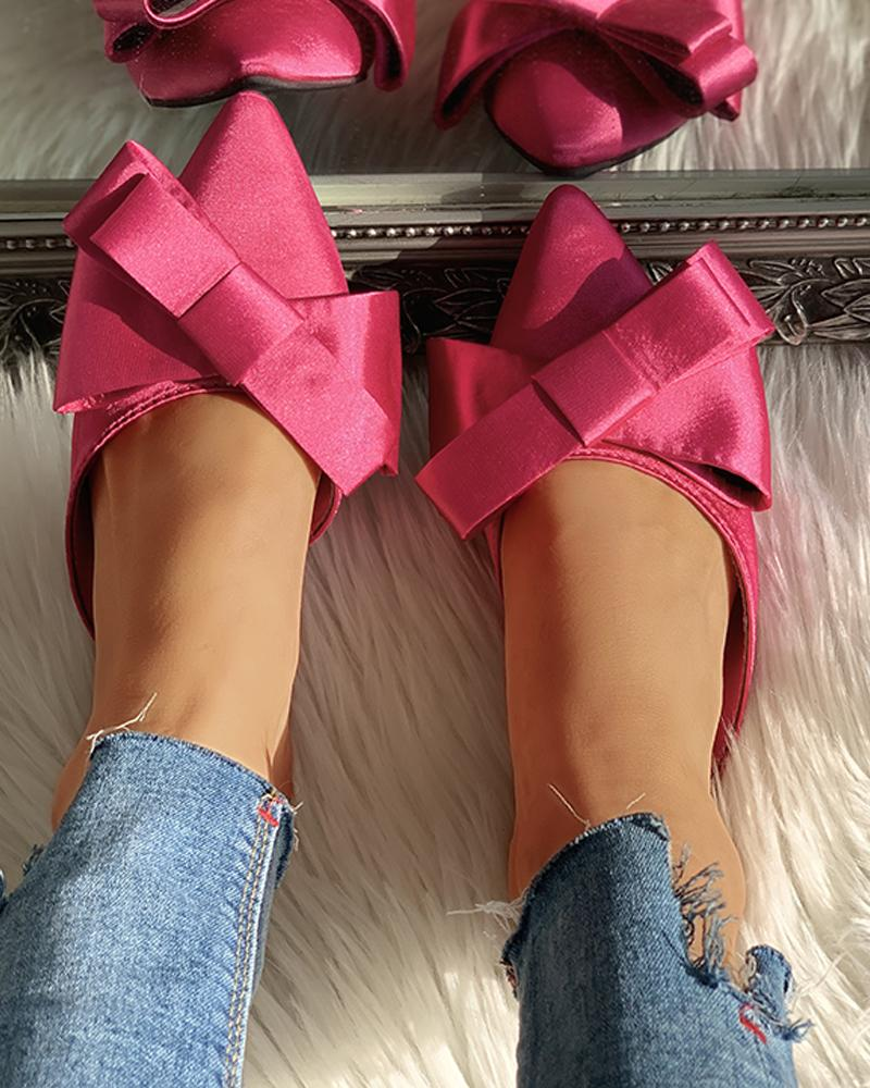 ChicMe coupon: Solid Bowknot Design Flat Slipper
