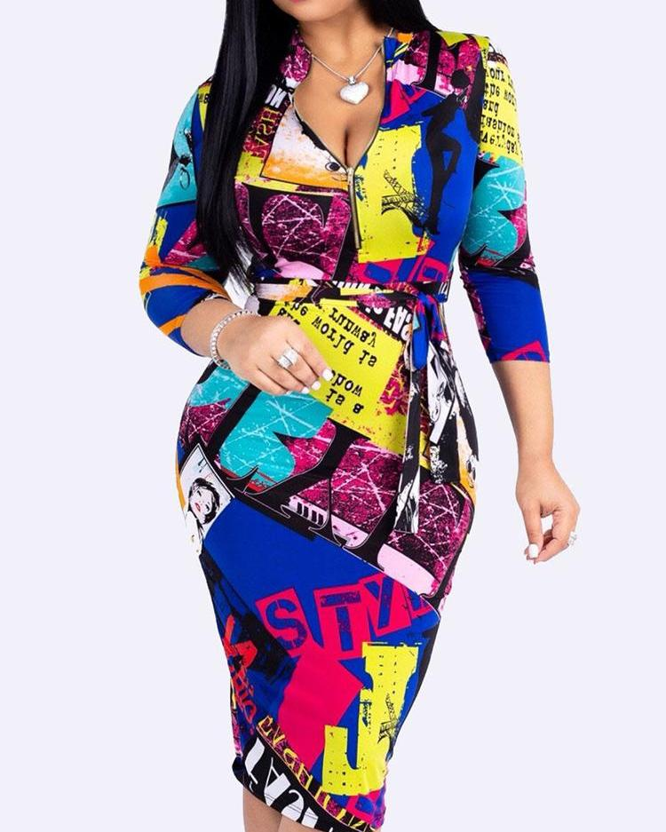 Colorblock Zipper Front Belted Bodycon Dress