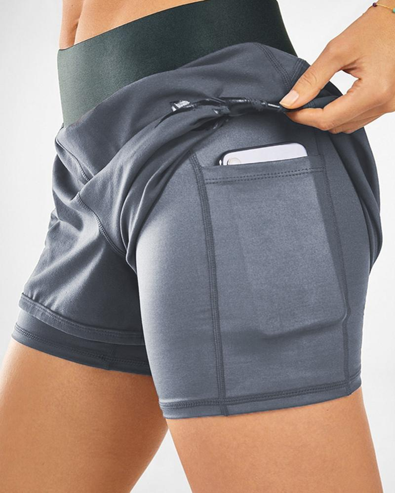 Double Layered High Waist Yoga Shorts With Pocket Workout Gym Shorts