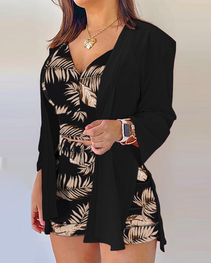 Tropical Print Cami Top & Shorts & Coat Set With Belt