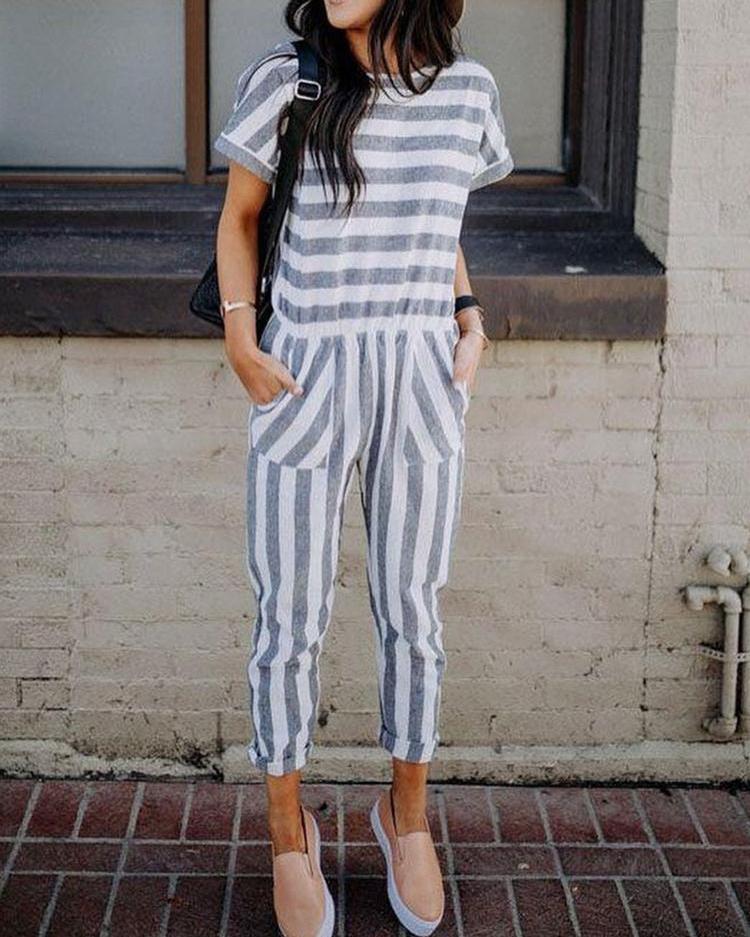 Joyshoetique coupon: Casual Striped Patchwork Loose Jumpsuit