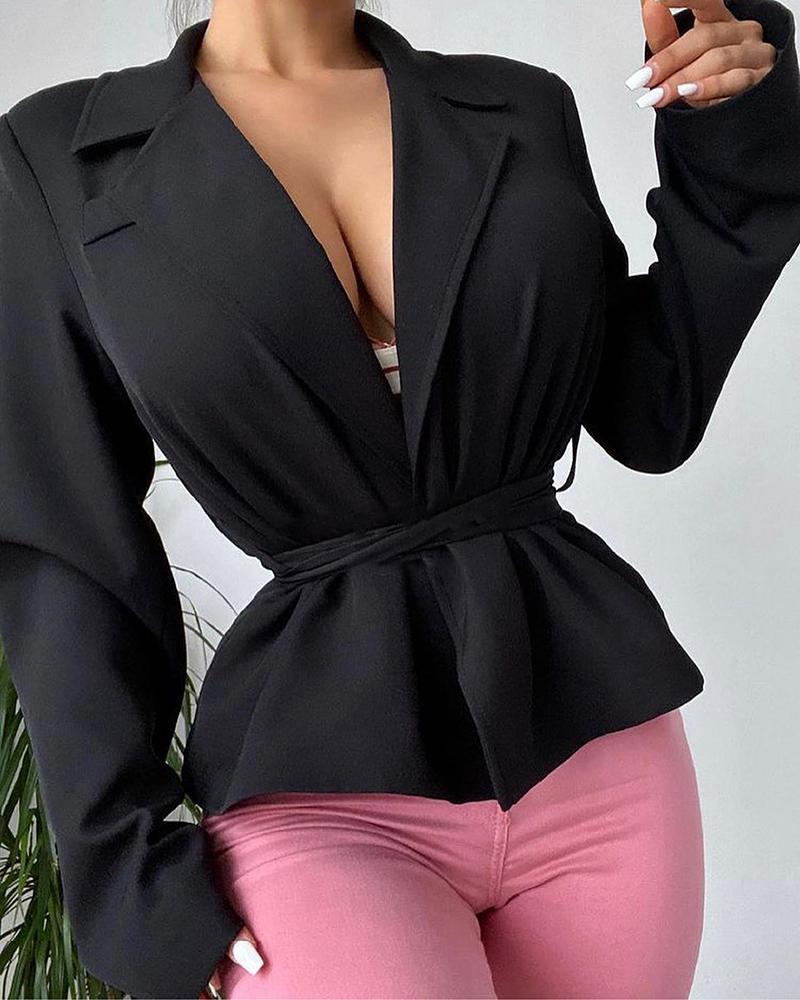 Long Sleeve Blazer Coat With Belt