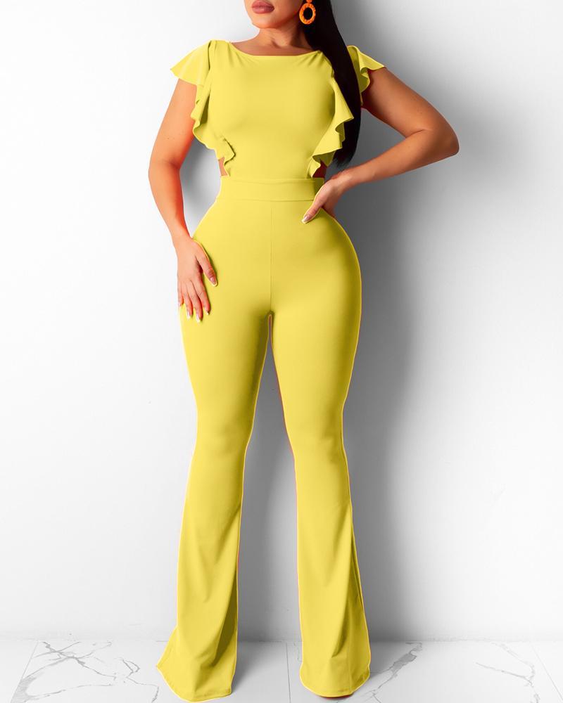 Ruffle Hem Backless Cutout Bootcut Jumpsuit, Yellow