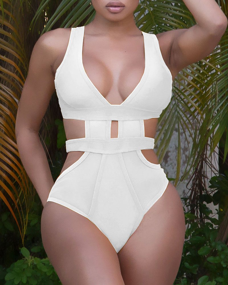 Cutout Backless Thick Strap One Piece Swimsuit thumbnail