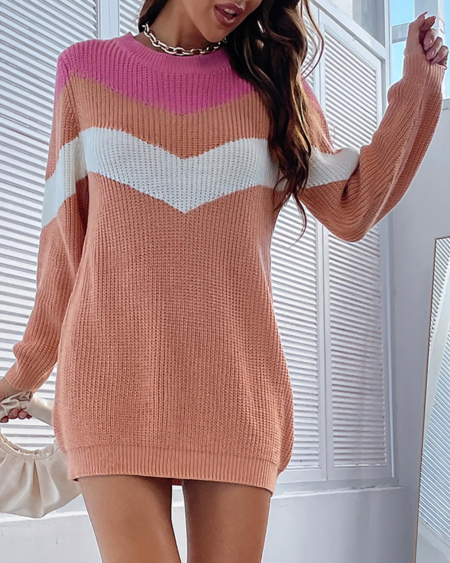 Colorblock Rib-knit Sweater Dress
