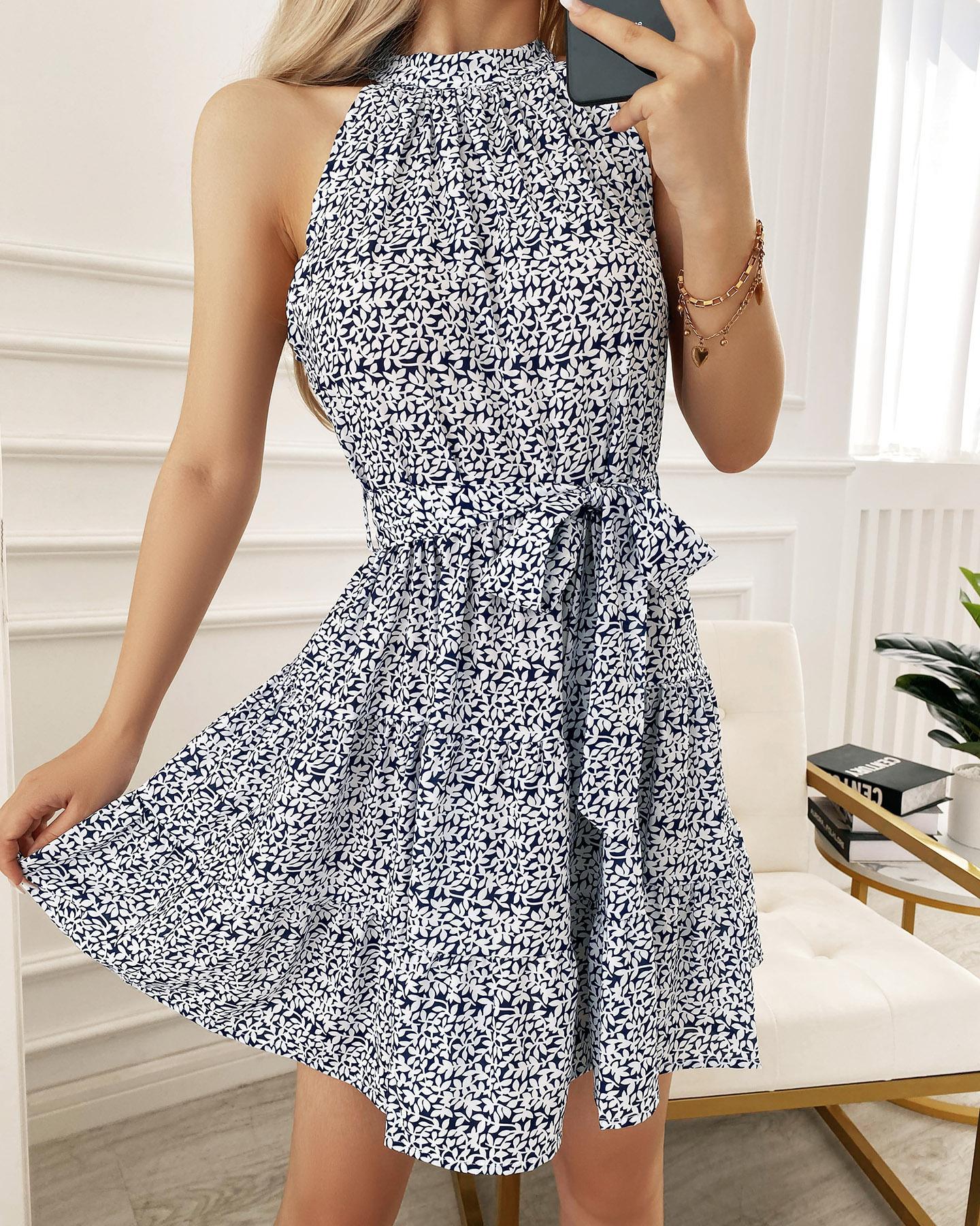 Lace-up Floral Print Sleeveless Pleated Mini Dress