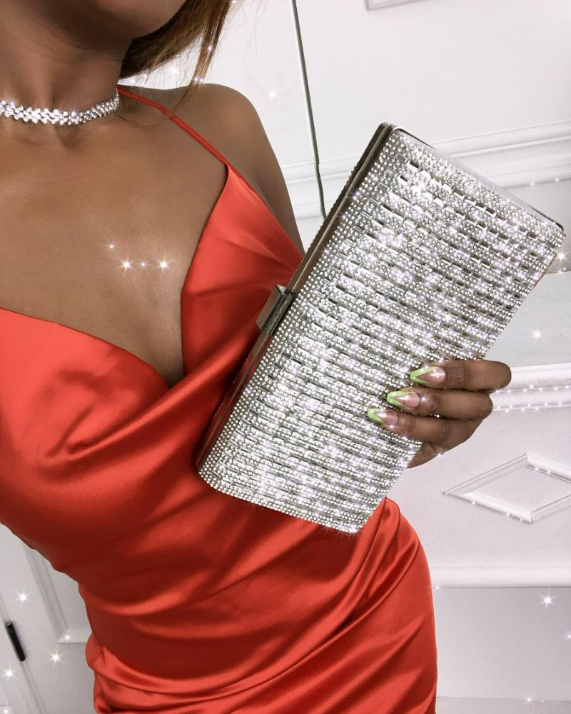 Allover Rhinestone Decor Clutch Bag Wedding Party Event Handbags