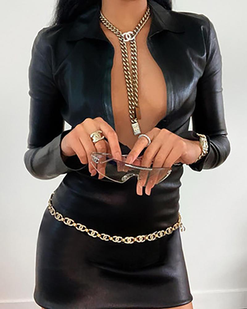 Long Sleeve Plunge PU Leather Bodycon Dress