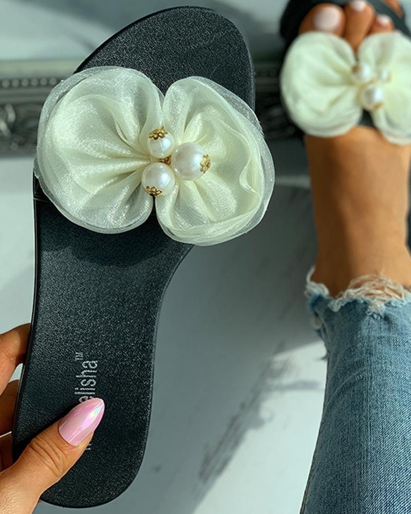 Mesh Bowknot Decor Beaded Flat Sandals
