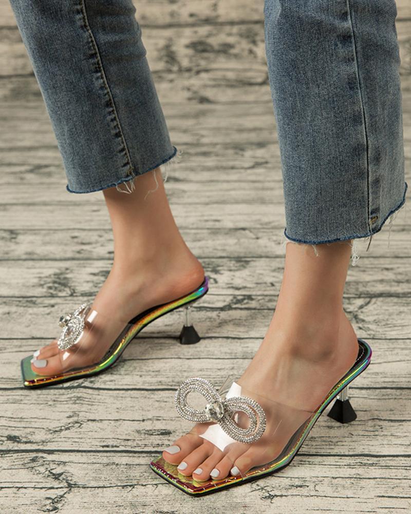 Solid Pvc Bowknot Upper Sqaure-toe High Heel Sandals