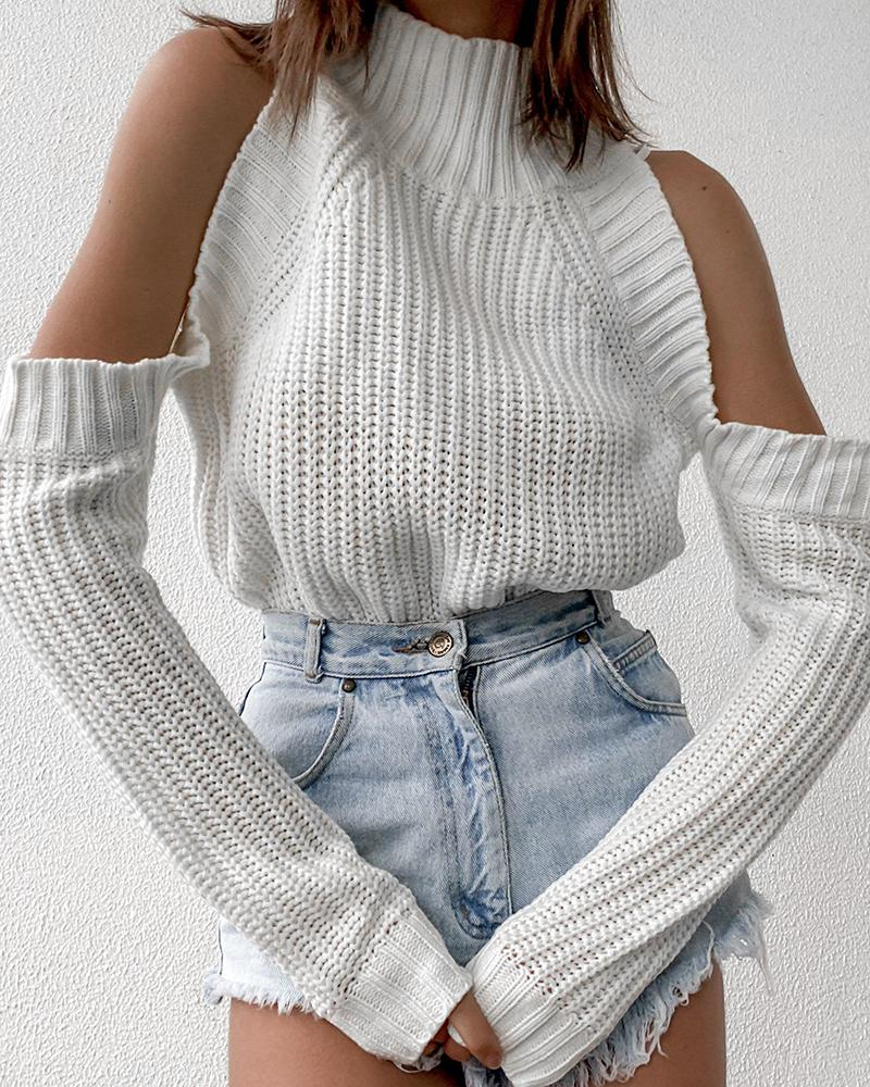 Cold Shoulder High Neck Long Sleeve Sweater