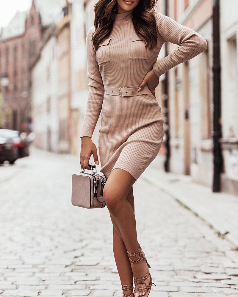 Plain Flap Pocket Belted Sweater Dress