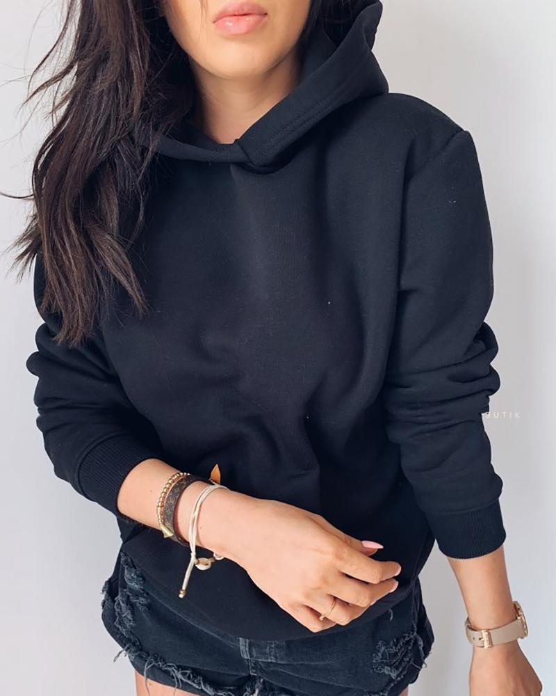 Solid Long Sleeve Pocket Design Hoodies