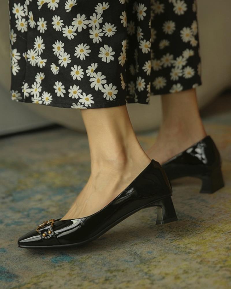 Square Toe Metal Decor Chunky Heels