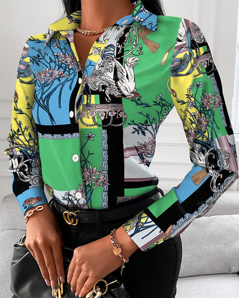 Scarf Print Button Up Long Sleeve Blouse