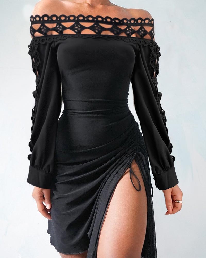Off Shoulder Hollow Out Drawstring Slit Dress