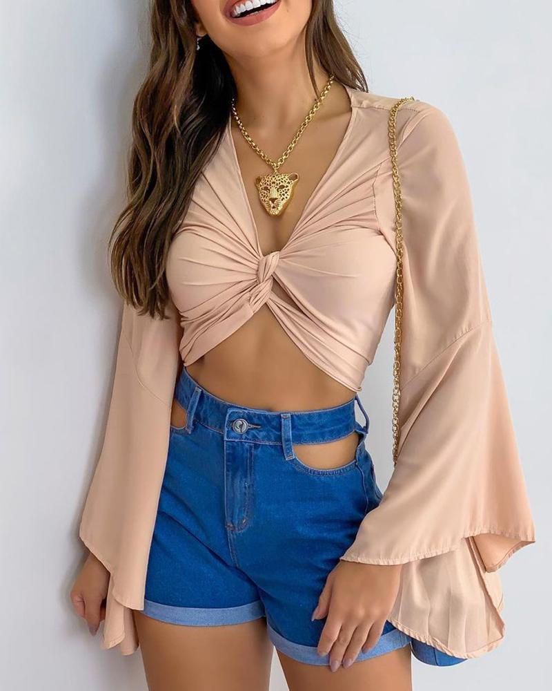 Twisted Front Bell Sleeve Crop Top