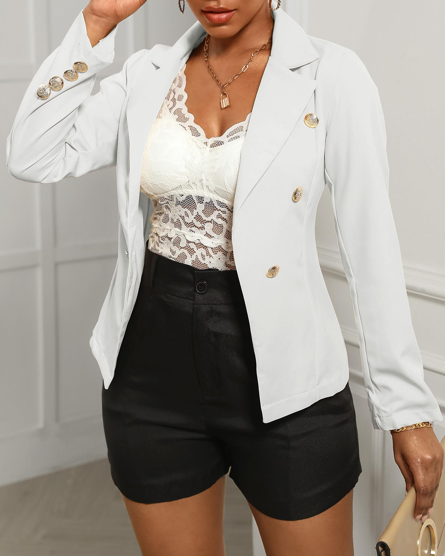 Double Breasted Long Sleeve Blazer Coat, chicme, white  - buy with discount