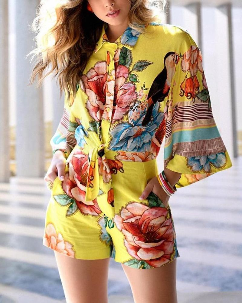 Floral Print Button Tied Front Romper