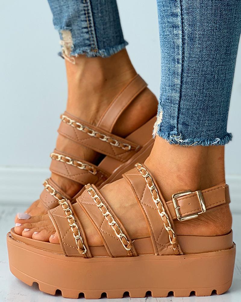 Chain Strap Buckled Slingback Platform Flat Sandals