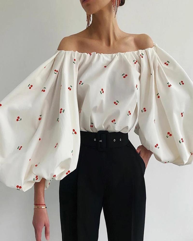 Off Shoulder Cherry Print Lantern Sleeve Top