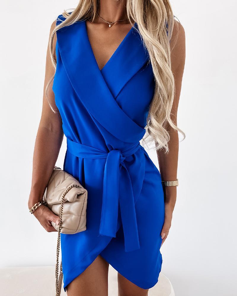 Solid Sleeveless Lace-up Waist Mini Dress