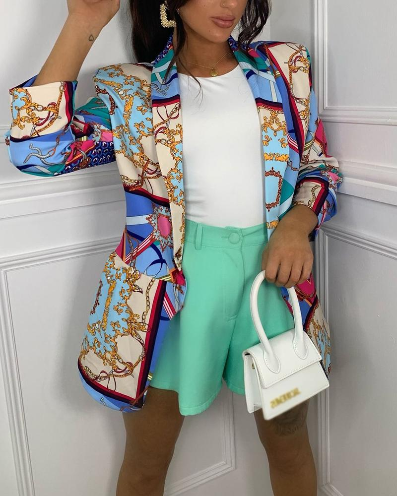 Scarf Print Long Sleeve Pocket Decor Blazer Coat