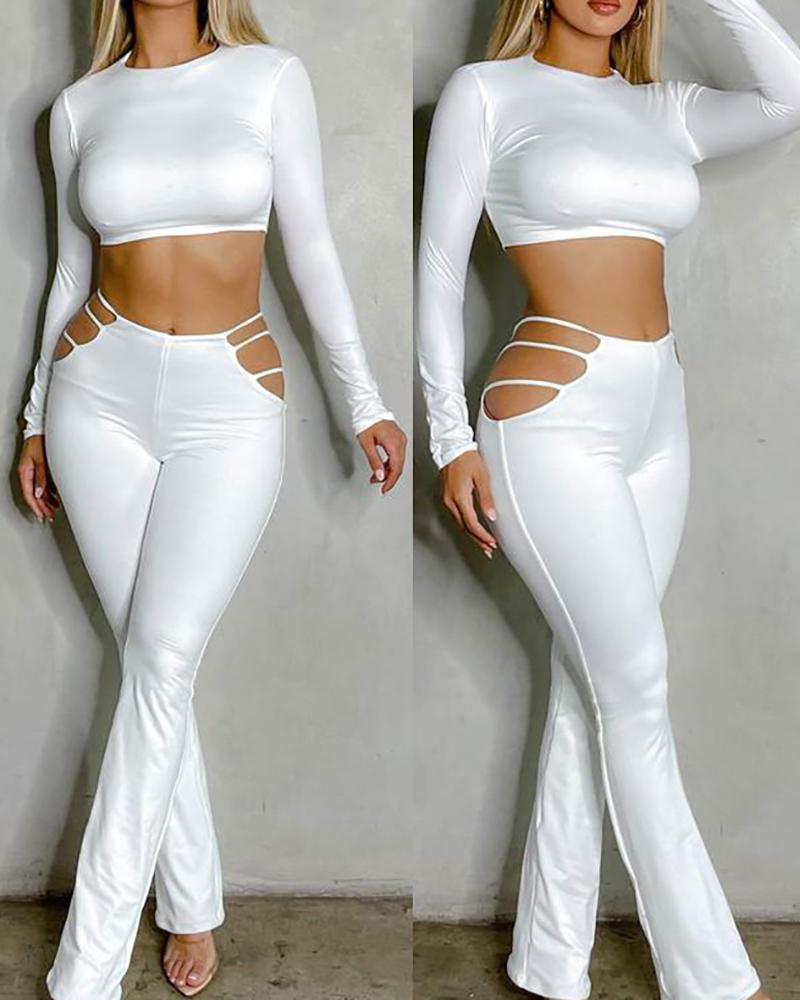 Ensembles crop top skinny à manches longues et pantalons découpés