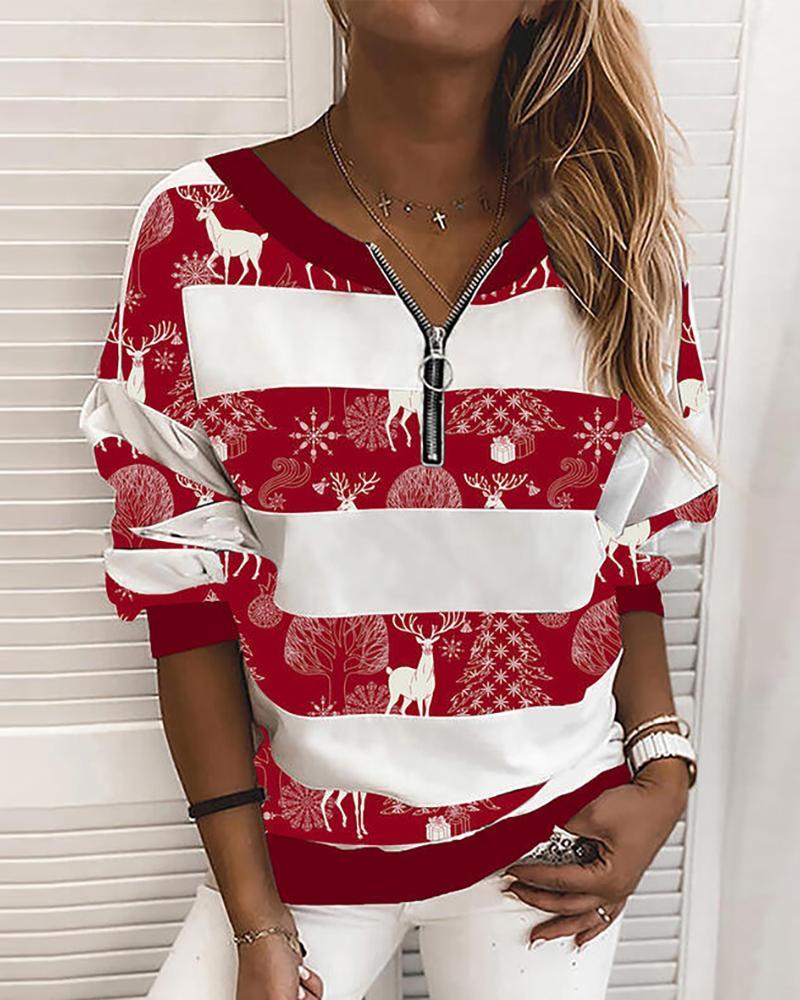 Christmas Mixed Print Zipper Design Sweatshirt