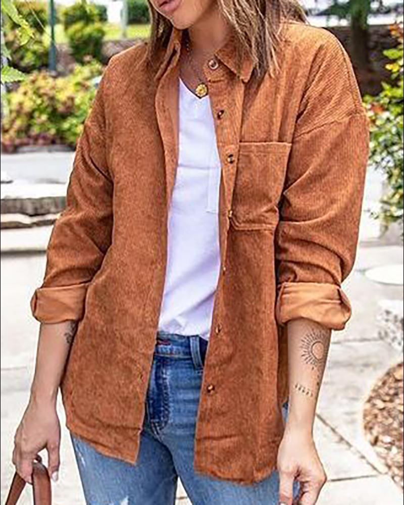 Button Pocket Design Corduroy Long Sleeve Shacket