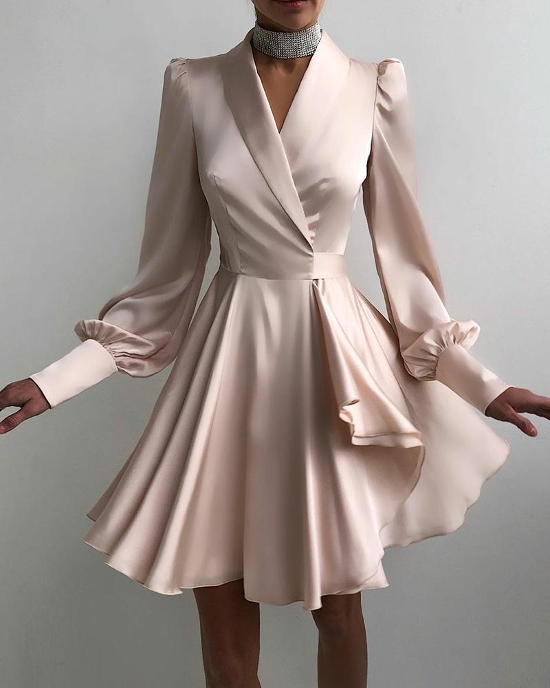 Solid Color Surplice Neck Ruffle Hem Party Dress Long Sleeve Elegant Party Dress Cocktail Dress