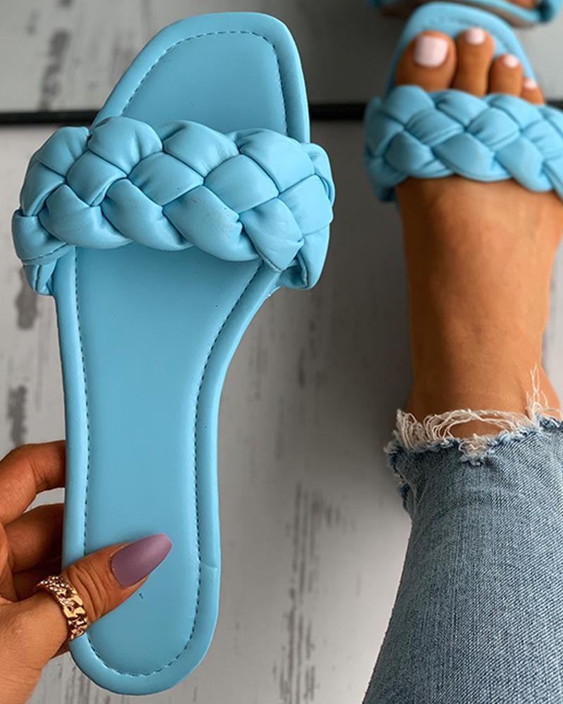 Braided Sqaure Toe Slide Slippers