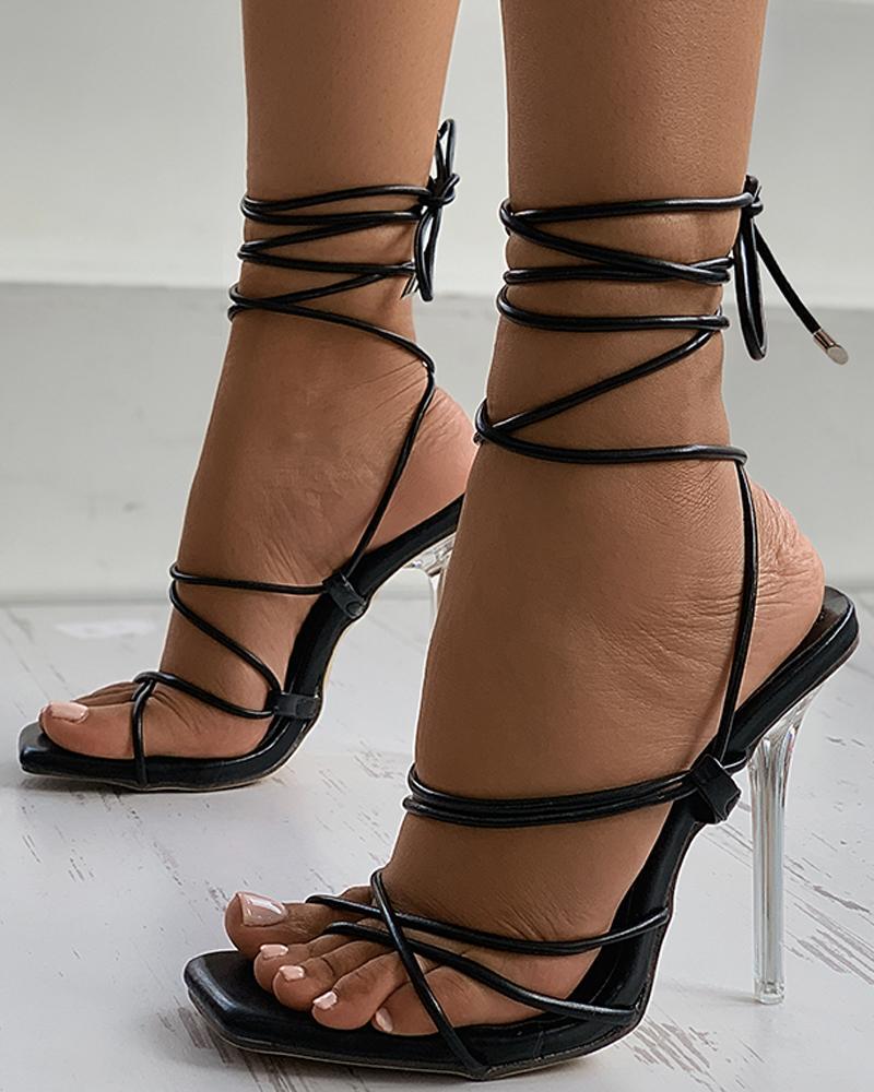 Square Toe Strappy Stiletto Heel
