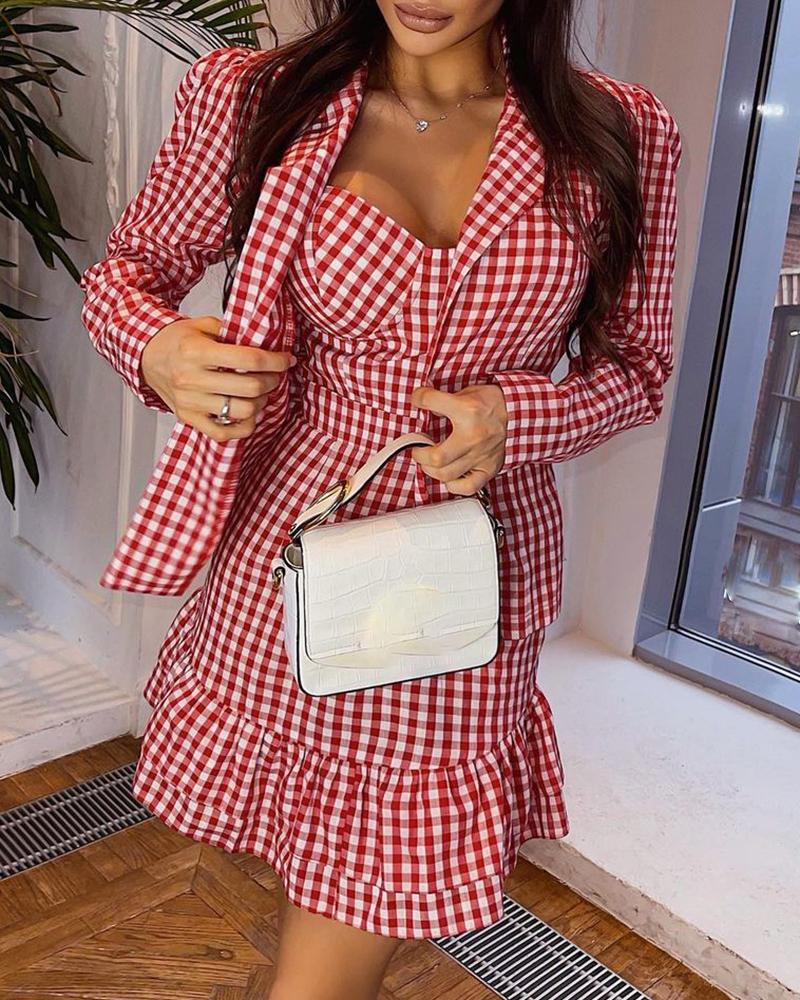 Plaid Print Ruffles Dress & Puff Sleeve Coat Set