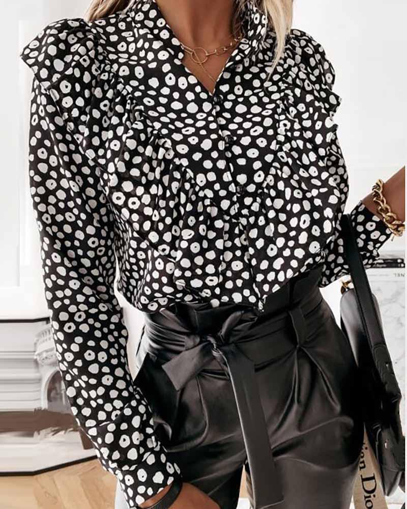 Long Sleeve Buttoned Ruffle Hem Plain / Abstract / Cheetah Print Top, Black