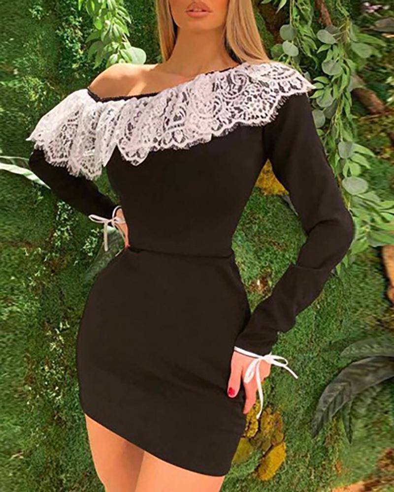 Eyelash Crochet Lace One Shoulder Bodycon Dress