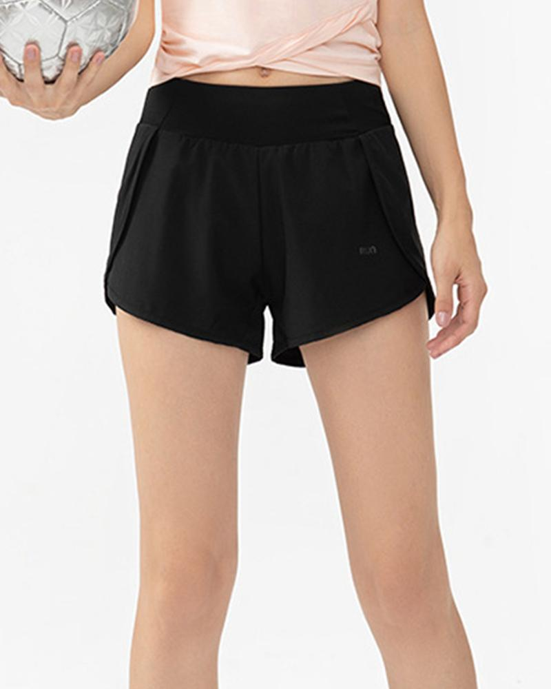 Color Block Fake 2PC Sport Short Pants