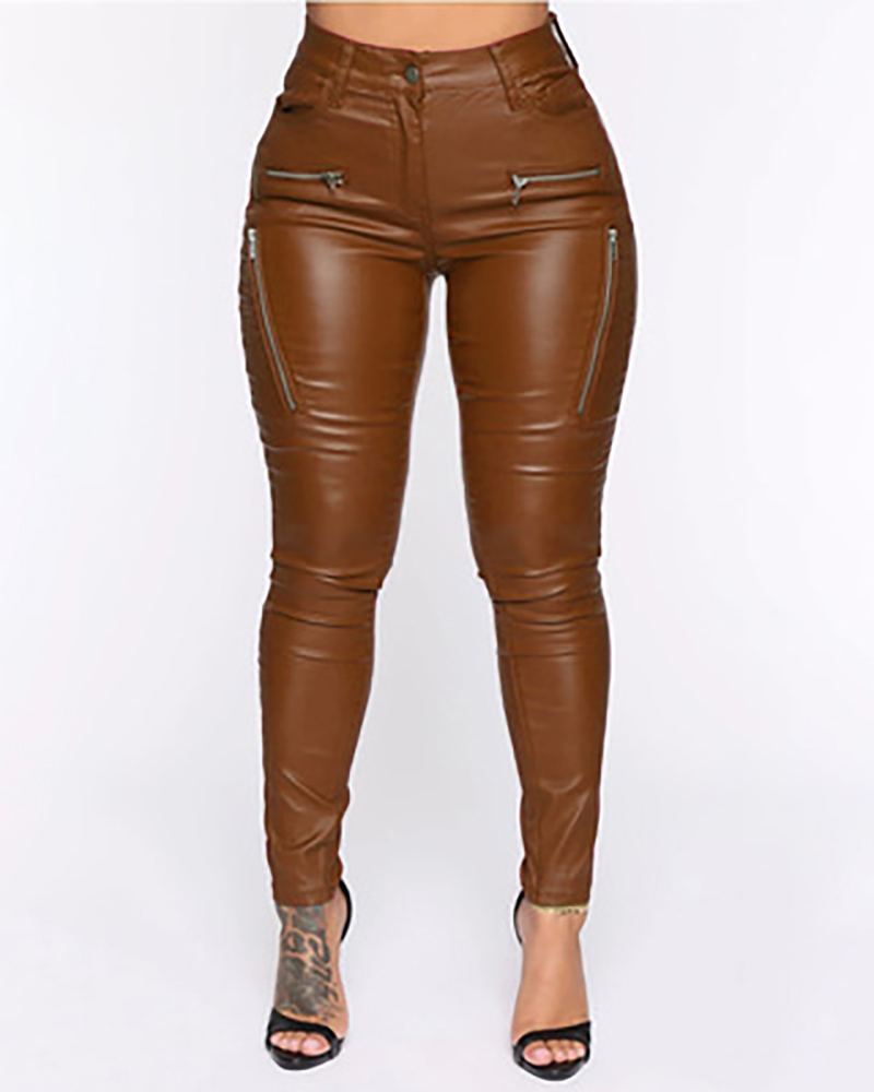 PU Leather Zipper Design Pocket Design Pants