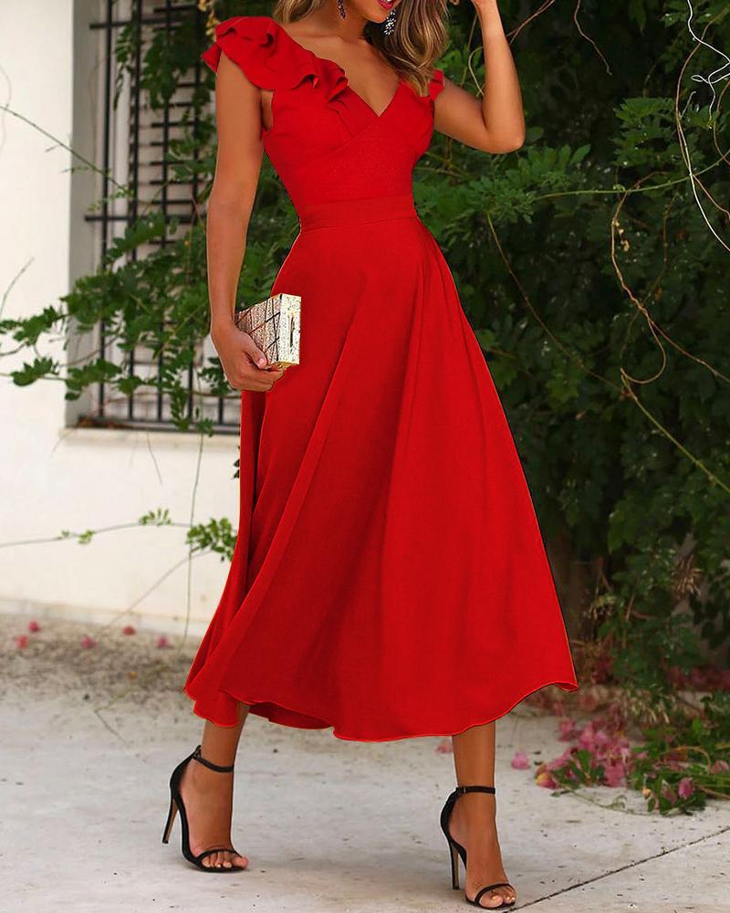 Solid Crisscross Backless Ruffle Hem Dress Sleeveless Elegant Party Dress Cocktail Dress