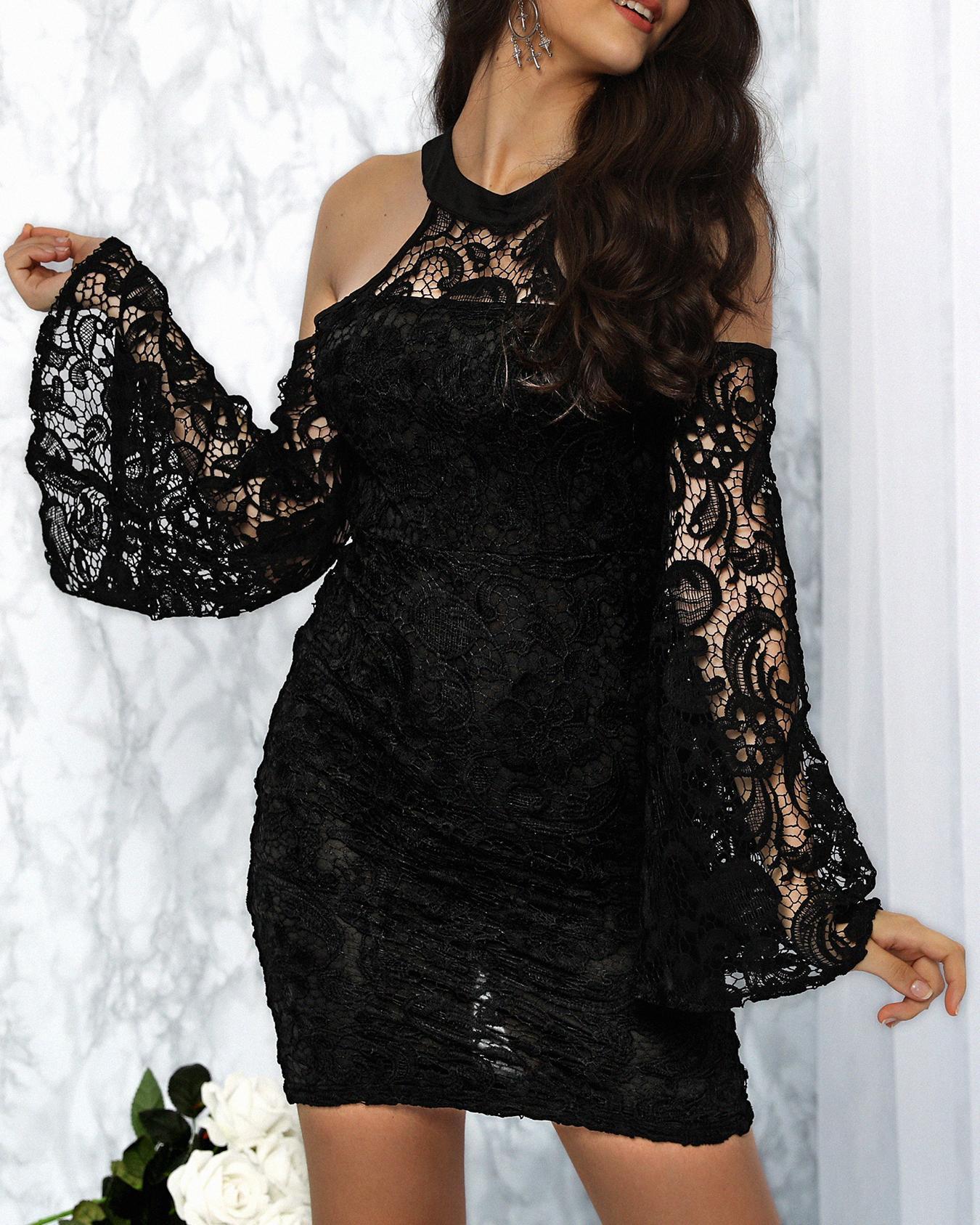 Joyshoetique coupon: Lace Halter Cold Shoulder Flared Sleeve Midi Dress