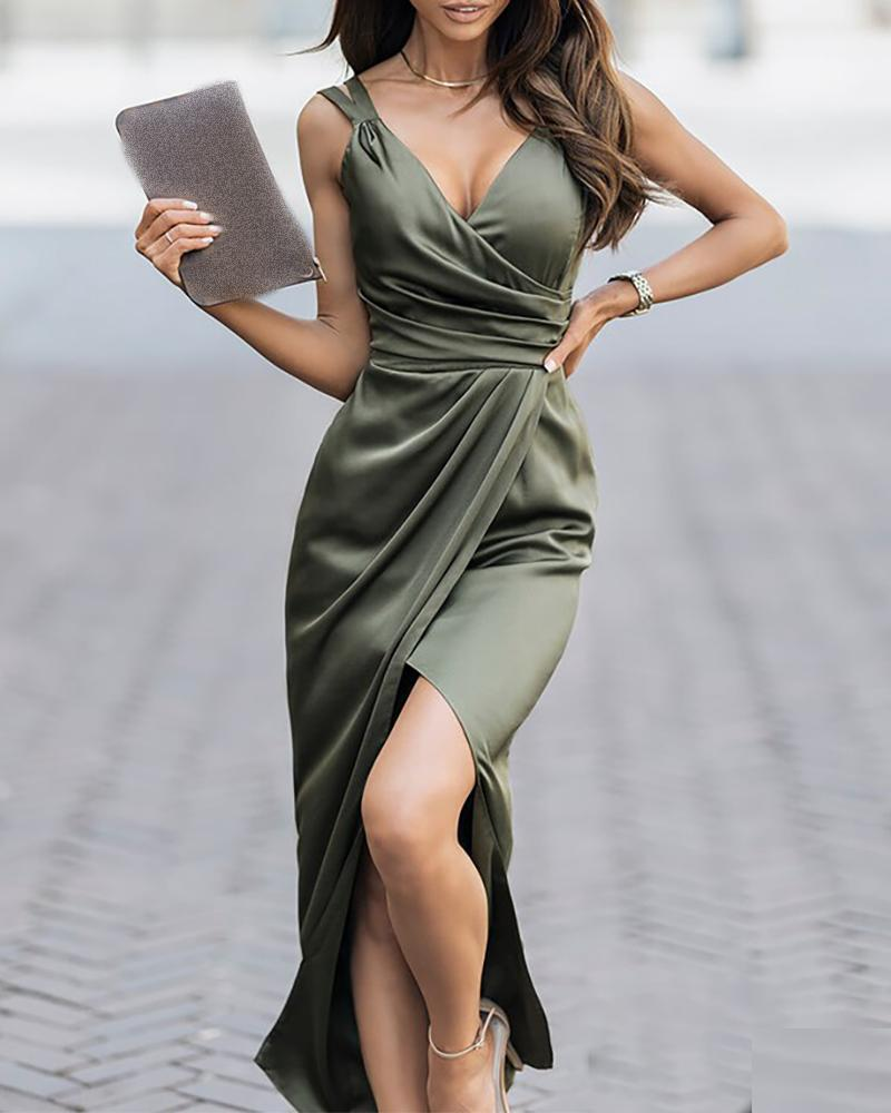 Ruched High Slit Satin Wrap Party Dress Solid Color Sleeveless Elegant Cocktail Dress Long Dress