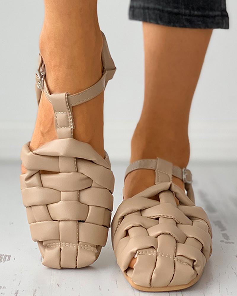 Braided Square Close Toe Flat Sandals