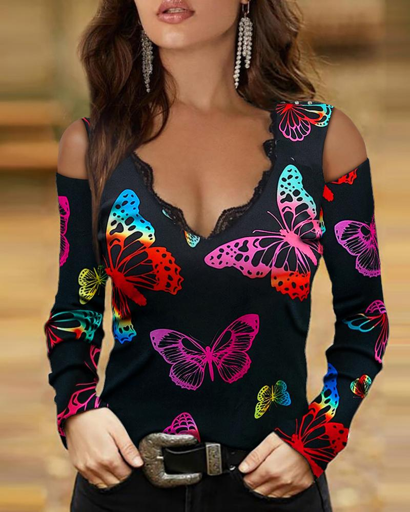 Butterfly Print Cold Shoulder Contrast Lace Top